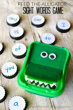 This feed the alligator sight words game is a fun way for preschoolers to work on learning their sight words, or customize it with alphabet or CVC words.