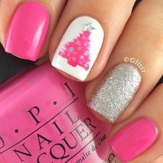 Pink, Christmas tree and Glitter Nails