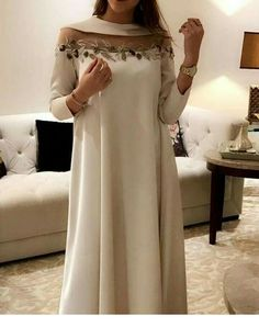 Cute A-line white dress - - Wedding Lengha - Wedding - New Ideas Abaya Fashion, Muslim Fashion, Modest Fashion, Fashion Outfits, Fashion Fashion, African Fashion Dresses, African Dress, Kaftan Designs, Mode Abaya