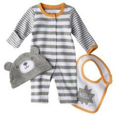 Circo® Newborn Jumpsuit, Hat and Bib Set - Gray Preemie