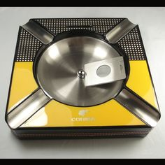New Fine COHIBA Square 4 Cigars Ceramic Stainless steel Cigar Ashtray Cutter G84