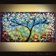 Tree painting original modern impasto acrylic by DanlyesPaintings