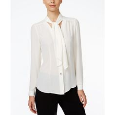 Tahari Asl Tie-Neck Blouse ($59) ❤ liked on Polyvore featuring tops, blouses, ivory white, tahari by arthur s. levine, ivory top, neck-tie, tie neck blouse and ivory blouse