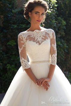 2017 New Wedding Dresses Milla Nova Lace Bateau Neck A-line Half Sleeves Button Back Beaded Belt Appliques Garden Novia Bridal Gowns