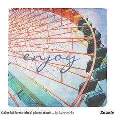 """Colorful ferris wheel photo stone coaster """"enjoy"""""""