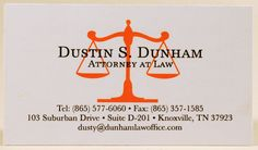 Attorney business card. Orange ink digital, black ink thermography. Designed and printed by Larry B. Newman Printing Company.