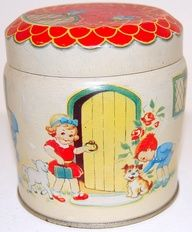 VINTAGE, RARE THORNES TOFFEE FIGURAL COTTAGE TIN, LUCY ATTWELL STYLE, C1950 | eBay