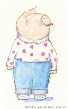 Feelin' snotty.  Watercolor and pencil by Elizabeth Rose Stanton