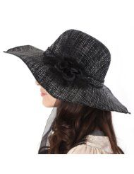 Luxury Lane Womens Black Floppy Flower Sun Hat with Chin Tie a22060524dc