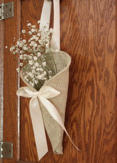 Khaki burlap pew cone / rustic wedding decor by NutfieldWeaver, $10.00