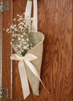 Khaki burlap pew cone / rustic wedding decor by NutfieldWeaver, $10.00