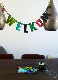 Fabric welcome garland for baby / naamslinger