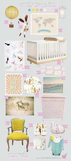 California Peach: You Are My Sunshine | Nursery -- Yellow, Pink, Orange, Rabbit, Bunny, Felted, My Roots Map, Deer, Yay Day, Countryside, Birds, Sparrows, Sparrow, Oeuf, Pendant, Hot Air Balloon, Bird Cage Chandelier, Wallpaper, Wall Decals, Baby Room, Nursery, Style Board, Mythic Paint, Oeuf, Crib, Non-Toxic, Green 0VOC, Eco Friendly, Organic