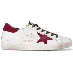 Golden Goose Distressed Superstar Sneakers found on Polyvore featuring shoes, sneakers, kirna zabete, shoes /, leather shoes, white shoes, leopard print shoes, white sneakers and rip trainer