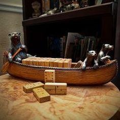 Bear and Canoe Wooden Domino Set  $44.95