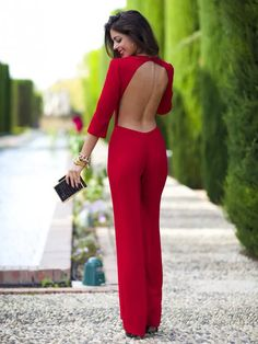 Red Backless Cocktail Jumpsuit # Trends Of Fall Apparel Cocktail Jumpsuits Jumpsuit Red Jumpsuit Backless Jumpsuit Clothing Jumpsuit 2014 Jumpsuit Outfits Jumpsuit How To Style Fashion Mode, Look Fashion, Winter Fashion, Womens Fashion, Fashion Blogs, Red Fashion, Fashion 2018, Fashion Clothes, Fashion Online