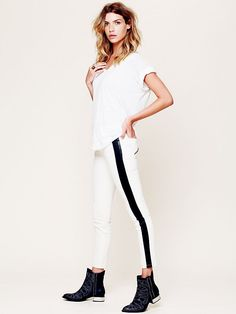 Free People Vegan Leather Trim Skinny at Free People Clothing Boutique