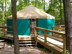 Stay at our one of a kind yurts for a fun and relaxing getaway with the family. #glamping #yurt #catherineslanding #hotspringsar
