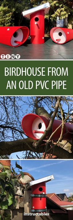 Birdhouse From an Old PVC Pipe - Basteln divers - Bird Supplies Pvc Pipe Crafts, Pvc Pipe Projects, Outdoor Projects, Garden Projects, Bird House Plans, Bird House Kits, Bird House Feeder, Bird Feeders, Bird Aviary
