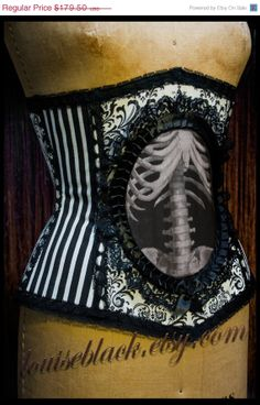 40% OFF Nouveau Skeleton Corset by Louise Black CUSTOM made to your measurements in Rococo and Stripe Fabrics