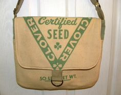 Vintage Ladino Clover Certified seed sack upcycled by LoriesBags
