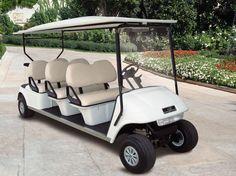 Il golf car a sei posti è anche trasformabile in un veicolo ad otto posti aggiungendo una struttura posteriore. Questa è molto versatile permettendo di utilizzare i golf cars sia come otto posti che come sei posti più trasporto di materiale o bagagli. Visita www.golfcar.it e scopri di più.