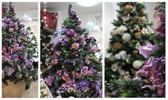 Purple Shabby Chic Christmas Decorations - La Floreale di Stefania - www.laflorealedistefania.it #nataleshabbychic #shabbychic #shabbychiccristmas #shabbydecorations #shabbywinter #alberonatale #christmastree #xmastree