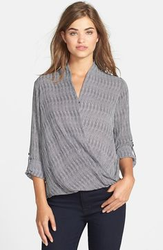 Free shipping and returns on Pleione Faux Wrap Blouse (Regular & Petite) at Nordstrom.com. A draped collar gently falls into the flattering faux-wrap front of a stylish blouse. The sleeves can be rolled or left long for versatile wear.