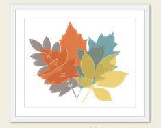 Autumn Leaves Print - val Decor - blad afdrukken - blad Wall Art - mosterd gele Teal Taupe Burnt Orange - herfst kleuren