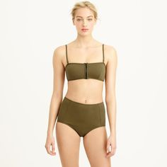 Summer Swimsuit Guide: 12 Hot Trends to Try!: J. Crew Italian Matte Zip Bandeau Bikini
