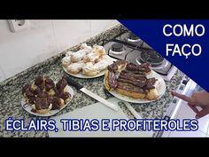 Como Faço Éclairs, Tibias e Profiteroles - YouTube Profiteroles, Eclairs, Portuguese Recipes, Chocolate, Deserts, Meat, Cakes, Youtube, Sweet Recipes
