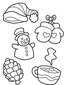 Winter Season Coloring Pages Luxury All Kind Of Winter Season Symbols Coloring Page Coloring Pages Winter, Online Coloring Pages, Coloring Pages For Kids, Coloring Books, Printable Christmas Coloring Pages, Line Artwork, Winter Images, Winter Season, Winter Holiday