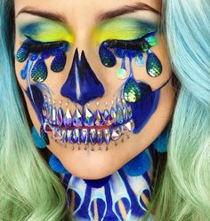 "8,632 Likes, 93 Comments - ________VANESSA DAVIS________ (@the_wigs_and_makeup_manager) on Instagram: ""Amaluna Clown Skull with Mermaid Tears.  Here's a close up of the last post. Thanks for…"""