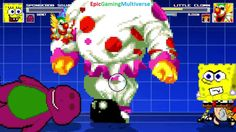 SpongeBob SquarePants & Barney VS Little Clown & Blossom The Powerpuff Girl In A MUGEN Match This video showcases Gameplay of Blossom The Powerpuff Girl From The Powerpuff Girls Series And Little Clown VS Barney The Dinosaur From The Barney & Friends Series And SpongeBob SquarePants In A MUGEN Match / Battle / Fight
