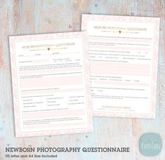 This clean and elegantly designed newborn photography client questionnaire will set you up for business and give you a professional first