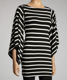 Take a look at the Black & White Stripe Bell-Sleeve Dress on #zulily today!