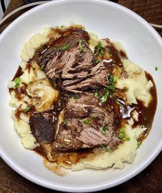 This brisket was lightly braised in red wine before serving. www.ClaudesSauces.com Healthy Dinner Recipes, New Recipes, British Recipes, Braised Brisket, Garlic Mashed Potatoes, Recipe Images, Meals For One, Food Network Recipes