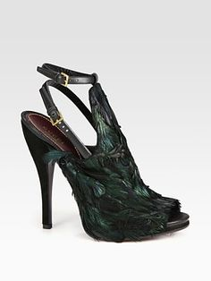 Gucci Jane Feather and Suede Slingback Pumps.
