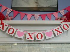 Paper Garland Valentines Day Decorations 6ft Red and Pink Heart Garland Party Decor Heart Banner Valentiens Day Photo Prop. $9.00, via Etsy.