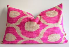Sukan / Silk Velvet Ikat Pillow Covers - Lumbar pillow covers - Throw pillows  - Decorative pillow covers - Pink Beige