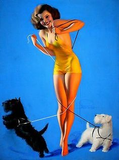 Pin Up girl and Dogs