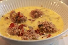 Low Carb Cheesy Meatball Soup - just made this last night in the crockpot and had for lunch today. Absolutely delicious. Will be making again and again. Thanks Jamie! 3.7 net carbs per cup