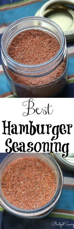 Best+Hamburger+Seasoning+Recipe Hamburger Seasoning Recipe, Hamburger Recipes, Seasoning Mixes, Best Recipe For Hamburger Patties, Best Burger Seasoning, Seafood Seasoning, Homemade Spices, Homemade Seasonings, Dry Rub Recipes