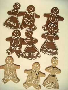 Baked with Treacle, traditional Gingerbread Bride & Grooms make a tasty and practical Gift for your Guest's. Can be personalised with names or your Wedding Date.