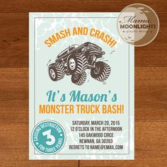 Monster Truck Birthday Party Printable Invitation With Back Side and Mini Thank You Card - DIY - Older Boy Best Birthday Invitation Monster Truck Party, Monster Trucks, Monster Jam, Monster Truck Birthday Cake, Third Birthday, 4th Birthday Parties, Birthday Fun, Birthday Ideas, Party Printables