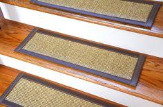 Dean Attachable Non-Slip Sisal Carpet Stair Treads - Desert/Taupe (Set of 13) - Dean Stair Treads