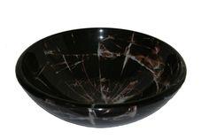 Legion Furniture Glass Vessel Sink in Black and Gray - ZA-05