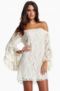 dress boho lace wedding clothes beach honeymoon simple short bell sleeves angel sleeve long sleeve chic gypsy hippie retro vintage off the shoulder