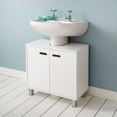 £29.99 - Polar Undersink Cabinet. Ideal for bathroom items such as towels, shampoos and cleaning products. Easy to assemble. Dimensions: W60 x D30 x H56cm (Approx.)