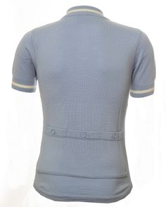 Pale blue, ecru, 100% merino wool, retro cycling jersey from Jura Cycle Clothing with three rear back button pockets.